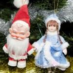 Toy Santa Claus, Snow Maiden — Stock Photo #18180673