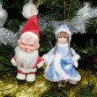 Toy Santa Claus, Snow Maiden — Stock Photo