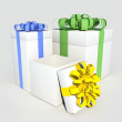 3d present boxes with colorful bows — Stock Photo