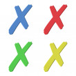 Four color (red, green, blue, yellow) 3D cross signs on white background — Stock Photo #13747692