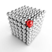 Different element. Cube made from shiny metal balls — Stock Photo