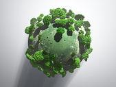 Yeşil muhteşem gezegen gölge ile — Stok fotoğraf
