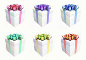 Gift box set with different ribbon colors — Stock Photo