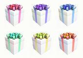 Geschenk boxset met verschillende lint kleuren — Stockfoto
