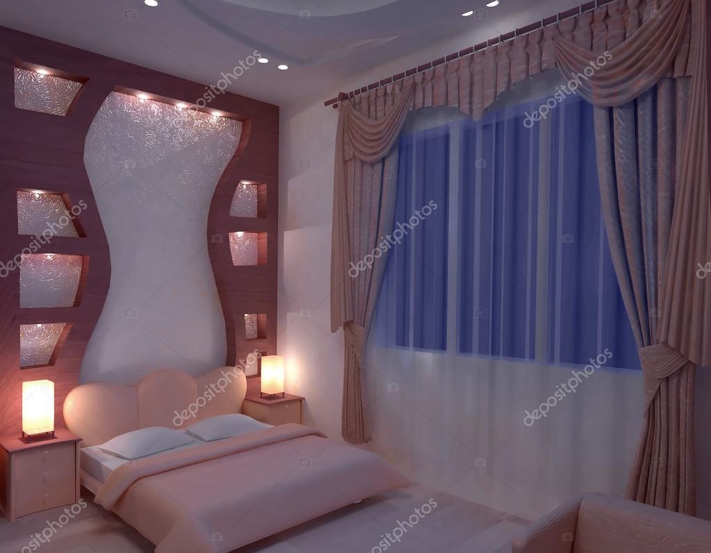 Дизайн гипсокартонных конструкций в спальне