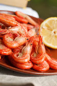Serving of grilled prawns — Stock Photo
