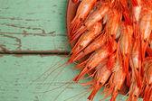 Shrimp platter with copyspace — Stock Photo