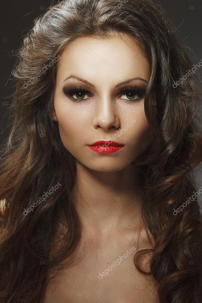 Beauty portrait of young brunette woman beauty portrait of young brunette woman, studio shot  Stock Photo #14275457