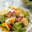 Nicoise salad over wood background - Lizenzfreies Foto