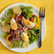 Salad nicoise over yellow background - Lizenzfreies Foto