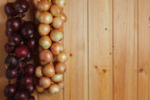 Hanging strings of red and white onions — Stockfoto