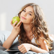 Stock Photo: Young cute girl with apple