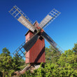 Traditional red windmill — Stock Photo