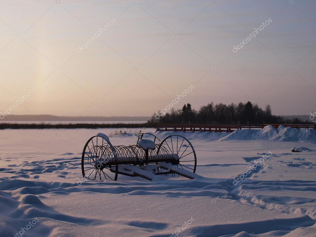 A sunset on the frozen lakeshore    — Stock Photo #12614106