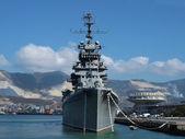War ship in a harbor — Stock Photo