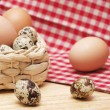 Stock Photo: Quail and hen eggs