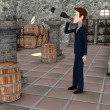 3d render of cartoon character drunk in cellar — Stock Photo