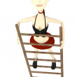 3d render of cartoon character on a ladder - Stock Photo