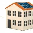Royalty-Free Stock Photo: 3d render of cartoon character with solar house