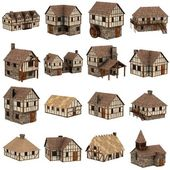 Colección de casas medievales - 3d — Foto de Stock