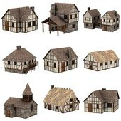 Collection of medieval houses - 3d — ストック写真