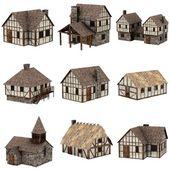 Samling av medeltida hus - 3d — Stockfoto