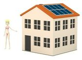 3d render of cartoon character with solar house — Stock Photo