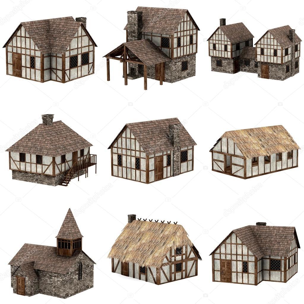 Raccolta di case medievali 3d foto stock for Piani di casa di 2600 piedi quadrati