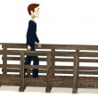 3d render of cartoon character walking on bridge — Stock Photo #21897265