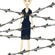 3d render of cartoon character with barbed wire — Stock Photo