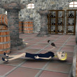 3d render of cartoon character drunk in cellar — Foto de Stock