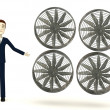 3d render of cartoon character with big fan — Stock Photo #22327421