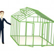 3d render of cartoon character with greenhouse — Stock Photo