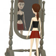 3d render of cartoon character with mirror — Stock Photo
