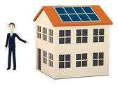3d renderowania postać z kreskówek z solar house — Zdjęcie stockowe
