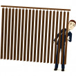 3d render of cartoon character behind curtain — Stock Photo
