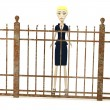 Stock Photo: 3d render of cartoon character with fence