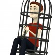3d render of cartoon character with tortural cage — Stock Photo