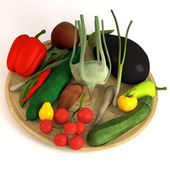 3d render of vegetable collection on plate — Stock Photo