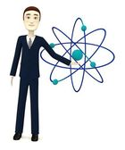 3d render of cartoon character with atom — Stock Photo