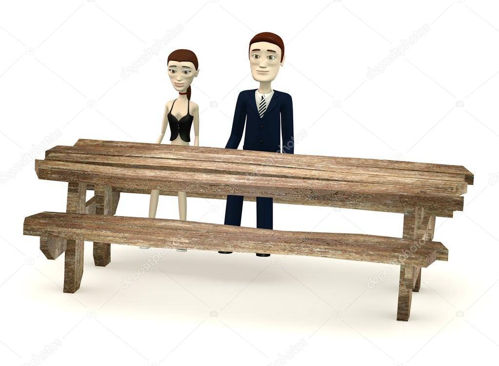 Rendu 3d de dessin anim personnage assis derri re une for Table 3d dessin
