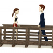 Stock Photo: 3d render of cartoon character walking on bridge