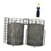 3d render of cartoon character with silo — Stock Photo