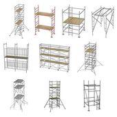 Insamling av 3d renders - byggnadsställningar — Stockfoto