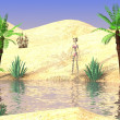 Stock Photo: 3d render of cartoon character on desert