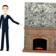 3d render of cartoon character with fireplace — Stock Photo