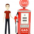3d render of cartoon character with gas station — ストック写真