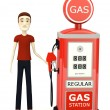 3d render of cartoon character with gas station — Stok fotoğraf