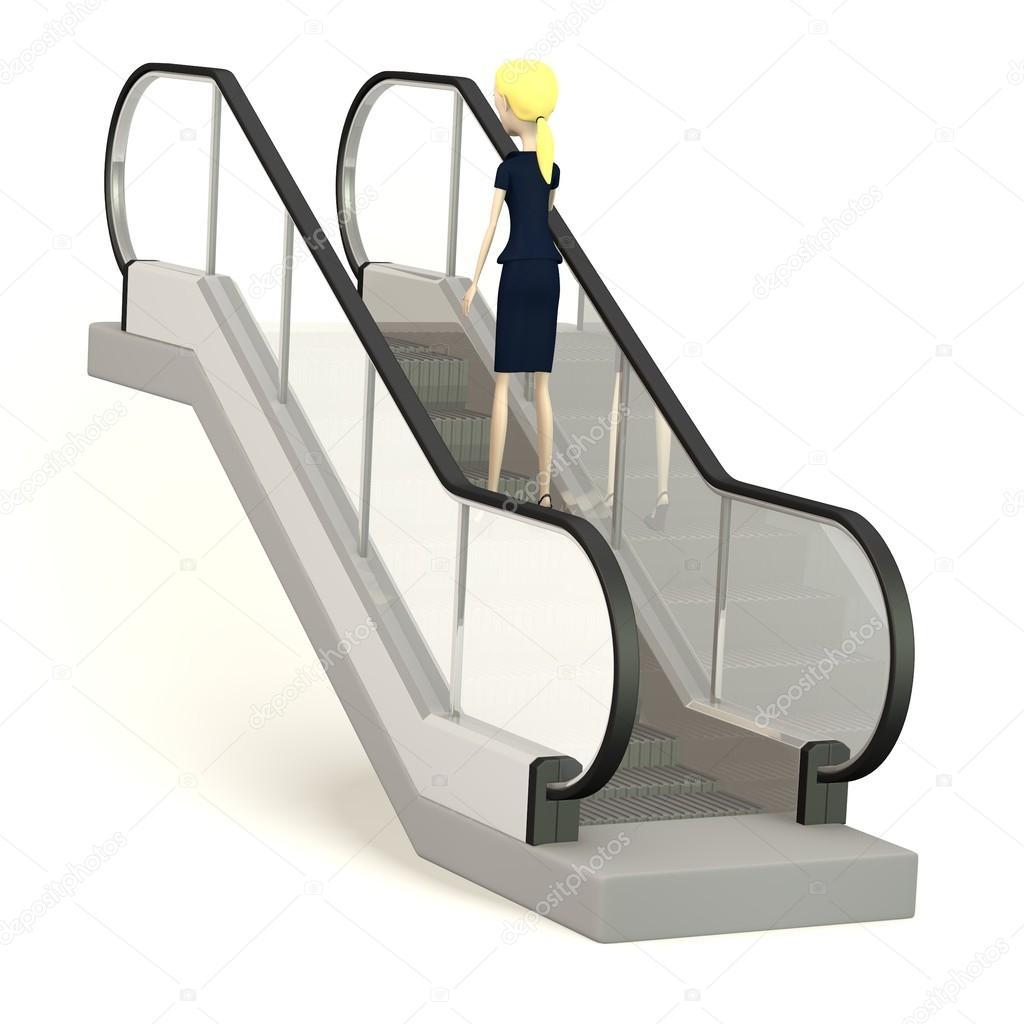 Render 3d del personaje de dibujos animados en escaleras for Escaleras dielectricas precios