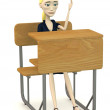 3d render of cartoon character on school chair — Foto Stock